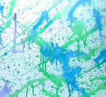 Stand and Deliver abstract painting white blue green  by 7RayedDesigns