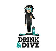 Drink and Dive - Scuba Diver - Black Short Hair by nelson92