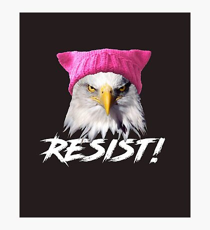 Resist - Bald Eagle Wearing Pink Knitted Pussy Hat Photographic Print