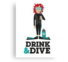 Drink and Dive - Scuba Diver - Red Short Hair Canvas Print