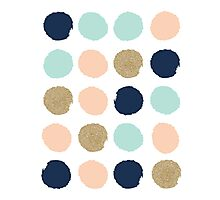 Wren - Brush strokes in modern colors turquoise, mint, navy, blush  Photographic Print