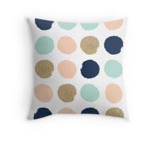 Wren - Brush strokes in modern colors turquoise, mint, navy, blush  Throw Pillow