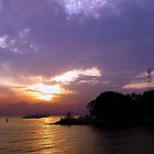 sunset on Singapore Harbour by Leone