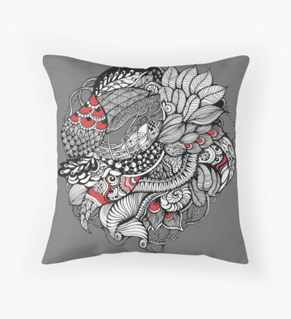 hand drawn fine line black and red fantasy   Throw Pillow