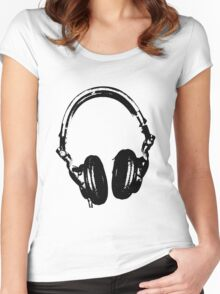 DJ Headphones Stencil Style Women's Fitted Scoop T-Shirt