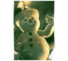 Snowman on Christmas Tree Poster