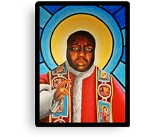Notorious B.I.G Pope Biggie Stain Glass Window Canvas Print