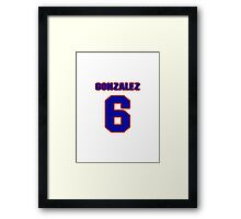 National baseball player Alberto Gonzalez jersey 6 Framed Print