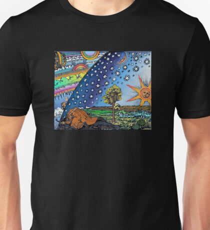 Flammarion Woodcut Flat Earth Design Unisex T-Shirt