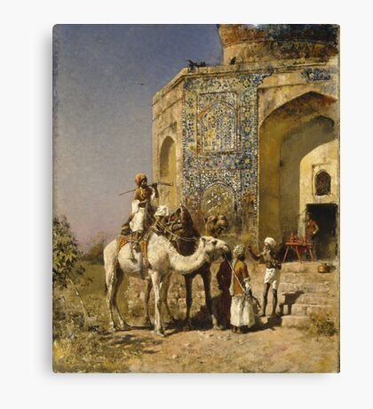Edwin Lord Weeks - The Old Blue-Tiled Mosque Outside Of Delhi, India Ca. 1885 Canvas Print
