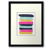 Inez - horizontal brushstroke pattern in pink, navy, gold, and mint Framed Print