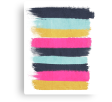 Inez - horizontal brushstroke pattern in pink, navy, gold, and mint Canvas Print