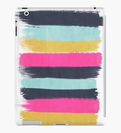Inez - horizontal brushstroke pattern in pink, navy, gold, and mint iPad Case/Skin