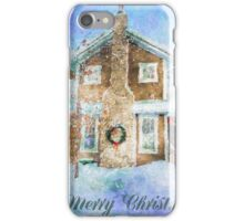 Merry Christmas House with Wreath iPhone Case/Skin