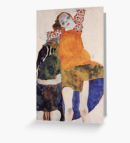 Egon Schiele - Two Seated Girls 1911 Greeting Card