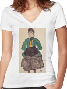 Egon Schiele - Woman In A Green Blouse And Muff 1915 Women's Fitted V-Neck T-Shirt