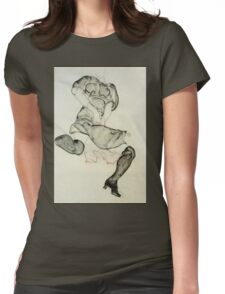 Egon Schiele - Woman With Black Stockings 1912 Womens Fitted T-Shirt