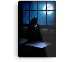 Black Minnaloushe watches the Moon Metal Print