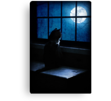 Black Minnaloushe watches the Moon Canvas Print