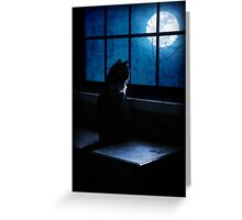 Black Minnaloushe watches the Moon Greeting Card
