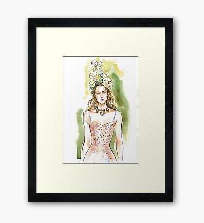 fashion #28: girl with a snake necklace Framed Print