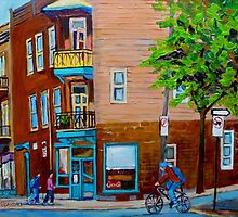 BIKING PAST THE SANDWICH SHOP WILENSKY'S LIGHT LUNCH MONTREAL PAINTINGS  by Carole  Spandau