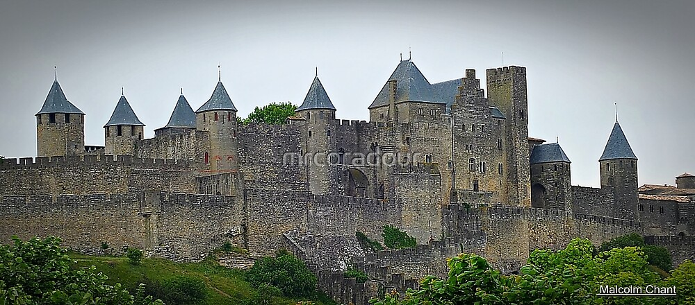 """"""" The Eastern wall of  Carcassonne castle"""" by Malcolm Chant"""