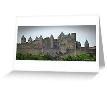 """ The Eastern wall of  Carcassonne castle"" Greeting Card"