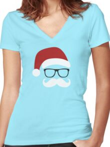 Funny Santa Claus with nerd glasses and mustache Women's Fitted V-Neck T-Shirt