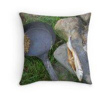 Fish Drying Throw Pillow