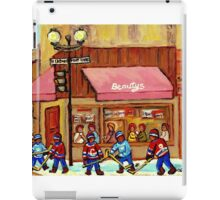 HOCKEY GAME AT THE CORNER LUNCH SPOT BEAUTY'S RESTAURANT MONTREAL SCENES PAINTINGS iPad Case/Skin