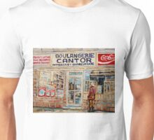 SHOPPING AT THE LOCAL BAKERY BOULANGERIE CANTOR MONTREAL CITY SCENES PAINTINGS Unisex T-Shirt