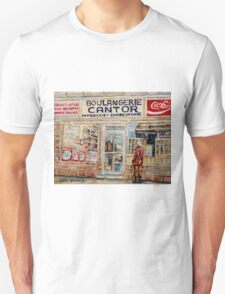 SHOPPING AT THE LOCAL BAKERY BOULANGERIE CANTOR MONTREAL CITY SCENES PAINTINGS T-Shirt