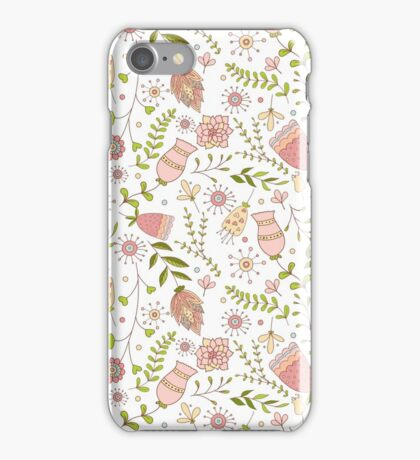 Whimsical Flowers Seamless Pattern.  iPhone Case/Skin