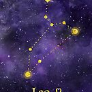 Leo Zodiac constellation, astronomy, astrology, horoscope, watercolour space painting with gold effect stars, font and symbol. by Sandra O'Connor