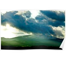 Green Hills and Stormy Skies Poster