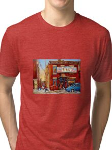 STREET HOCKEY GAME NEAR THE BAGEL SHOP FAIRMOUNT BAGEL MONTREAL WINTER STREET SCENE PAINTINGS Tri-blend T-Shirt