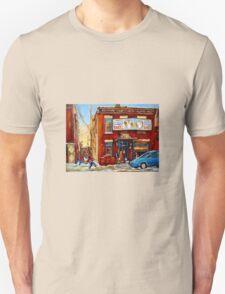 STREET HOCKEY GAME NEAR THE BAGEL SHOP FAIRMOUNT BAGEL MONTREAL WINTER STREET SCENE PAINTINGS Unisex T-Shirt