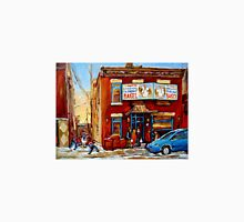 STREET HOCKEY GAME NEAR THE BAGEL SHOP FAIRMOUNT BAGEL MONTREAL WINTER STREET SCENE PAINTINGS Unisex T-Shirt