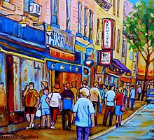 SHOPPING ALONG RUE ST.LAURENT SHOPS AND DELIS MONTREAL PAINTINGS AND PRINTS FOR SALE by Carole  Spandau