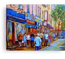 SHOPPING ALONG RUE ST.LAURENT SHOPS AND DELIS MONTREAL PAINTINGS AND PRINTS FOR SALE Metal Print