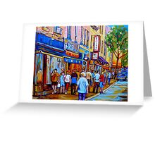 SHOPPING ALONG RUE ST.LAURENT SHOPS AND DELIS MONTREAL PAINTINGS AND PRINTS FOR SALE Greeting Card
