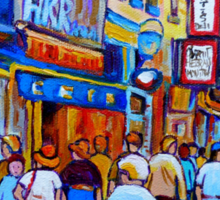 SHOPPING ALONG RUE ST.LAURENT SHOPS AND DELIS MONTREAL PAINTINGS AND PRINTS FOR SALE Sticker