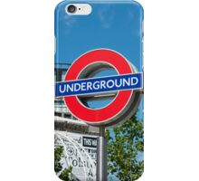 London underground sign on a bright sunny day iPhone Case/Skin