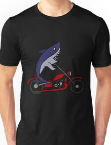 Cool Funky Funny Shark On Red Motorcycle Art Unisex T-Shirt