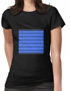 Black Sunburst on Blue Womens Fitted T-Shirt