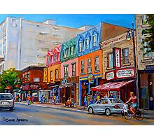 BIKING PAST THE DELI ON RUE ST.LAURENT MONTREAL PAINTINGS AND SCENES Photographic Print