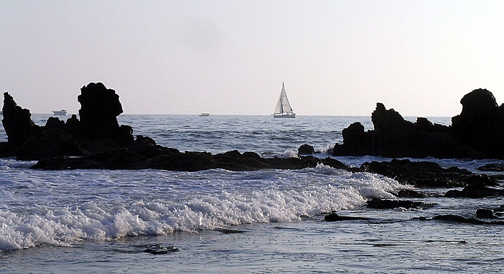 Rocks and Sailboat by Dianna