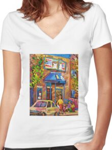 BEAUTIFUL SUMMER SCENE AT THE FAIRMOUNT BAGEL MONTREAL PAINTINGS AND PRINTS Women's Fitted V-Neck T-Shirt