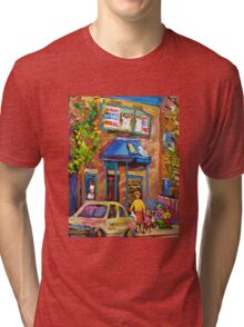 BEAUTIFUL SUMMER SCENE AT THE FAIRMOUNT BAGEL MONTREAL PAINTINGS AND PRINTS Tri-blend T-Shirt